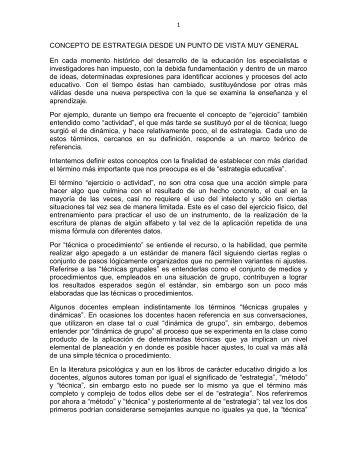 CONCEPTO DE ESTRATEGIA DESDE UN PUNTO DE VISTA MUY ...