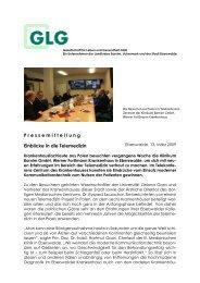 P ressemitteilung Einblicke in die Telemedizin - GLG Gesellschaft ...