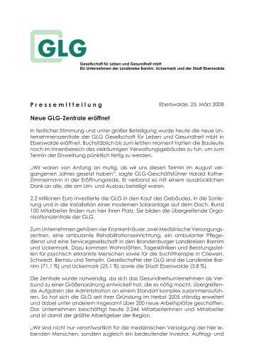 P ressemitteilung Neue GLG-Zentrale eröffnet - GLG Gesellschaft für ...