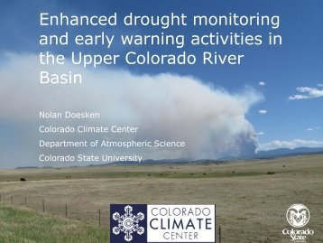 Enhanced drought monitoring and early warning activities in the ...