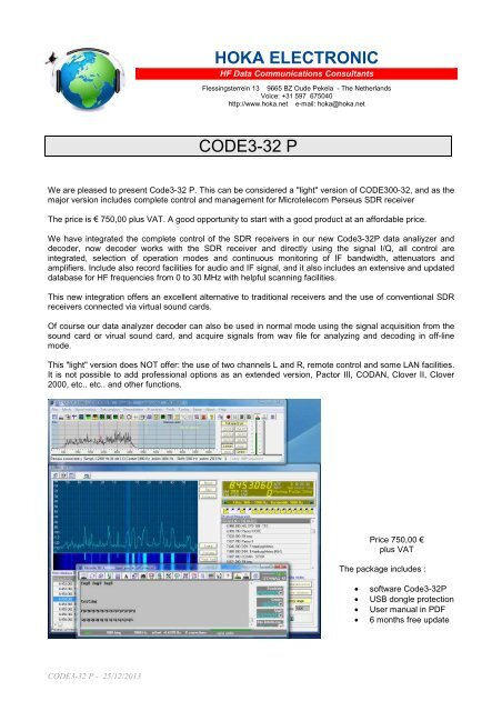 Download CODE3-32 P Technical Specifications - Hoka Electronics