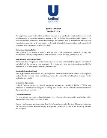 Seattle Division Vendor Packet - Unified Grocers