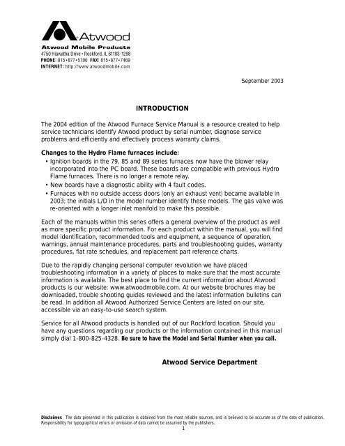 INTRODUCTION Atwood Service Department - Bryant RV ServicesYumpu
