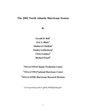 summary of the 2002 atlantic hurricane season - Climate Prediction ...