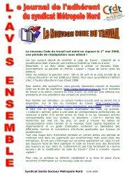 Syndicat Santé-Sociaux Métropole Nord Le nouveau Code du ...