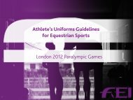 London 2012 - FEI Athletes' Uniform Guidelines for Equestrian