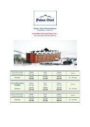 Palan Otel Palandöken ayrıntılı fiyat listesi için tıklayınız