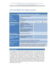 LIFE HISTORY OF SHAH ALAM - Shiree