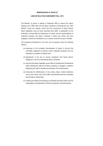 Memorandum of Objects: Labour Relations Amendment Bill, 2012