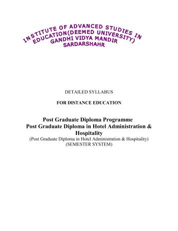 Post Graduate Diploma Programme Post Graduate ... - IASE University