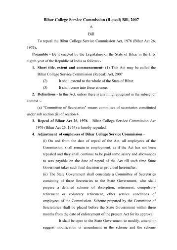 Bihar College Service Commission - Education Department of Bihar