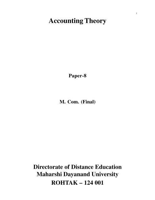 Accounting Theory - Maharshi Dayanand University, Rohtak