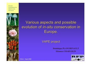Various aspects and possible evolution of in-situ conservation in ...