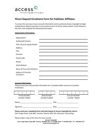 Direct Deposit Enrolment Form For Publisher