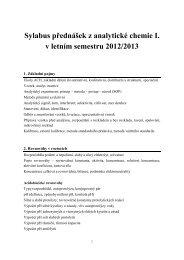 Sylabus přednášek (LS12/13)