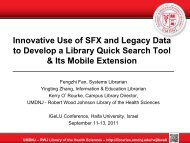 Innovative Use of SFX and Legacy Data to Develop a ... - IGeLU
