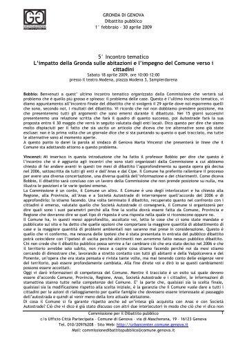 Sabato 18 aprile 2009 - Urban Center - Comune di Genova
