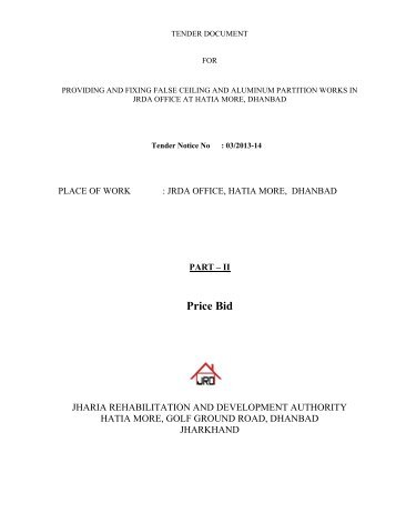 Price Bid - JRDA - Jharia Rehabilitation & Development Authority