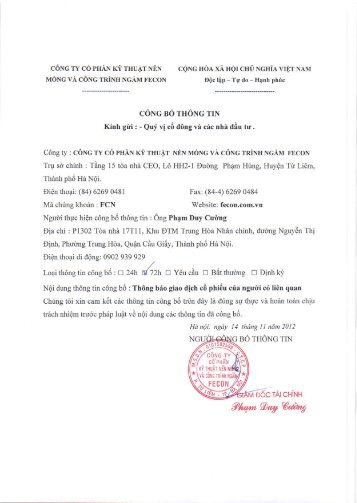 Đăng ký giao dịch của Bà Hà Thị Bích - Fecon