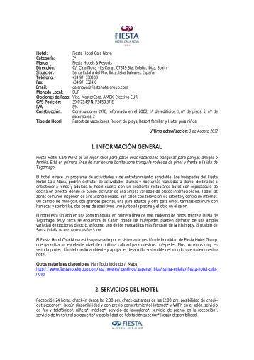 1. información general 2. servicios del hotel - Palladium Hotel Group