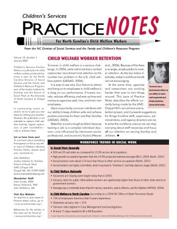 child welfare worker retention - Children's Services Practice Notes