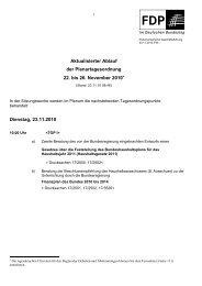 Tagesordnung 22. bis 26. November 2010