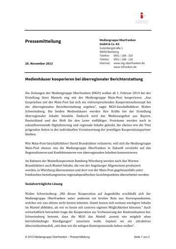 Die Zeitungen der Mediengruppe Oberfranken (MGO) wollen ab 1 ...