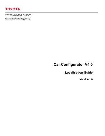 Car Configurator V4.0 Localisation Guide - Toyota
