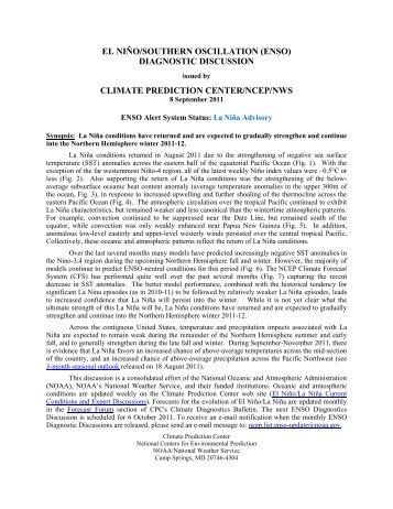 ENSO Diagnostic Discussion - Climate Prediction Center - NOAA