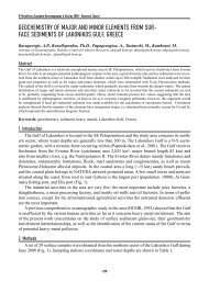 geochemistry of major and minor elements from sur - 9ο Πανελλήνιο ...