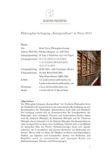 Curriculum Lehrgang Wien - Academia Philosophia