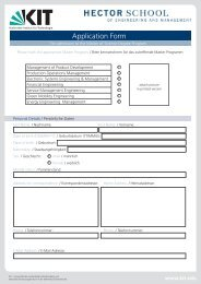 Application Form - HECTOR School - KIT