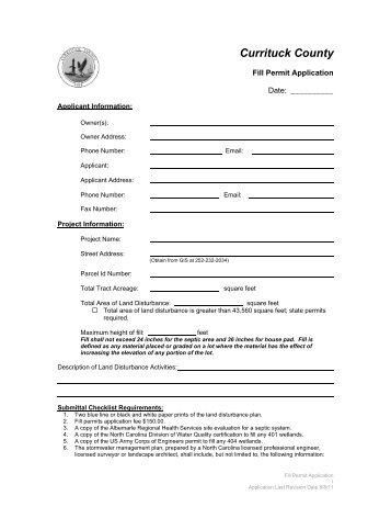 Fill Permit - Currituck County Government