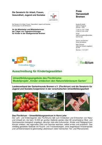 Ausschreibung für Kindertagesstätten - Gartenfreunde Bremen