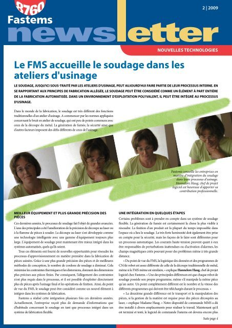 Le FMS accueille le soudage dans les ateliers d'usinage - Fastems