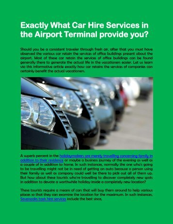 Exactly What Car Hire Services in the Airport Terminal provide you?