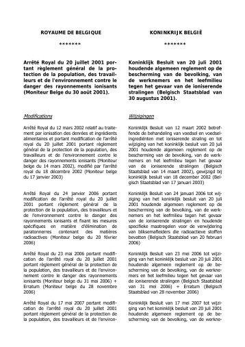 Koninklijk besluit van 20 juli 2001 - Federaal Agentschap voor ...
