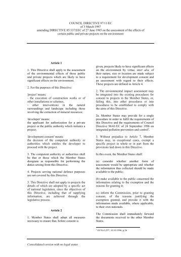 Directive 97/11/EC - Energy Community