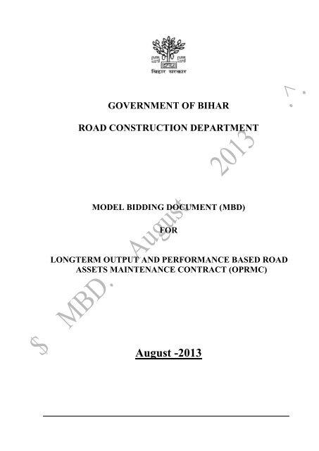 GOVERNMENT OF BIHAR - Road Construction Dept