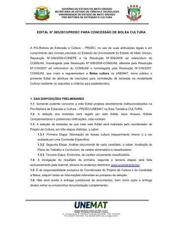 edital n° 005/2013/proec para concessão de bolsa cultura - Unemat