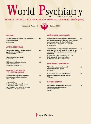 Volumen 1, Número 2 - Octubre 2003 - World Psychiatric Association