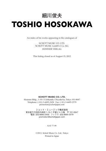 TOSHIO HOSOKAWA - Schott Music