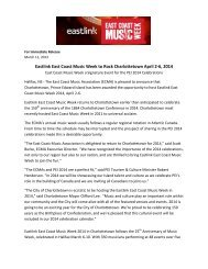 Eastlink East Coast Music Week to Rock Charlottetown April 2-6, 2014
