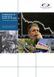 Conséquences de la crise sur le secteur de l'énergie - World Energy ...