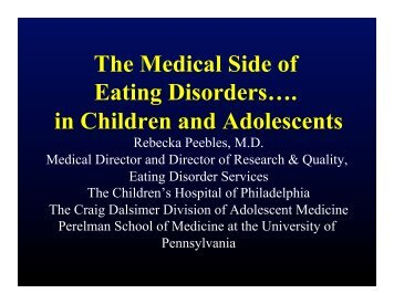 The Medical Side of Eating Disorders…. in ... - Maudsley Parents