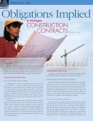 Obligations Implied in Michigan Construction Contracts - Honigman