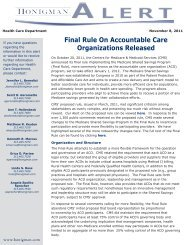 Final Rule On Accountable Care Organizations Released - Honigman