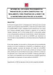 Informe del CER sobre procedimientos previstos en la ... - olacefs