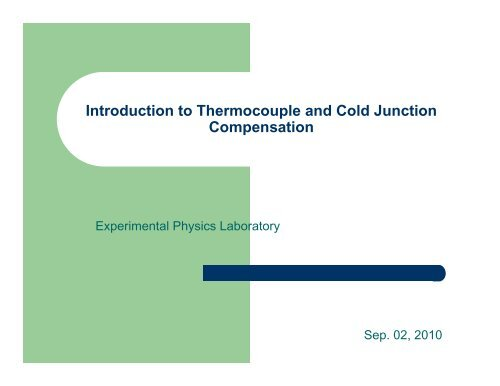 Introduction to Thermocouple and Cold Junction Compensation