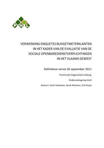 Bijlage 1 – rapport 2011 enquête budgetmeterklanten - Energiesparen